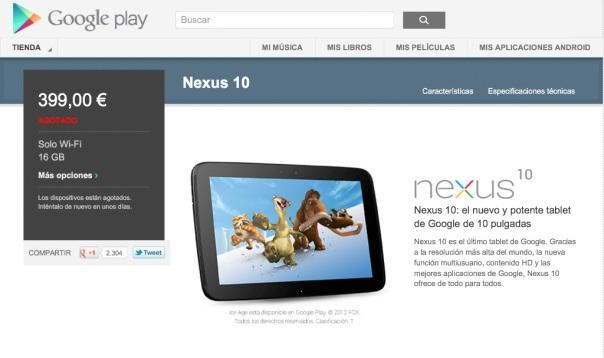 Nexus 10 ya a la venta